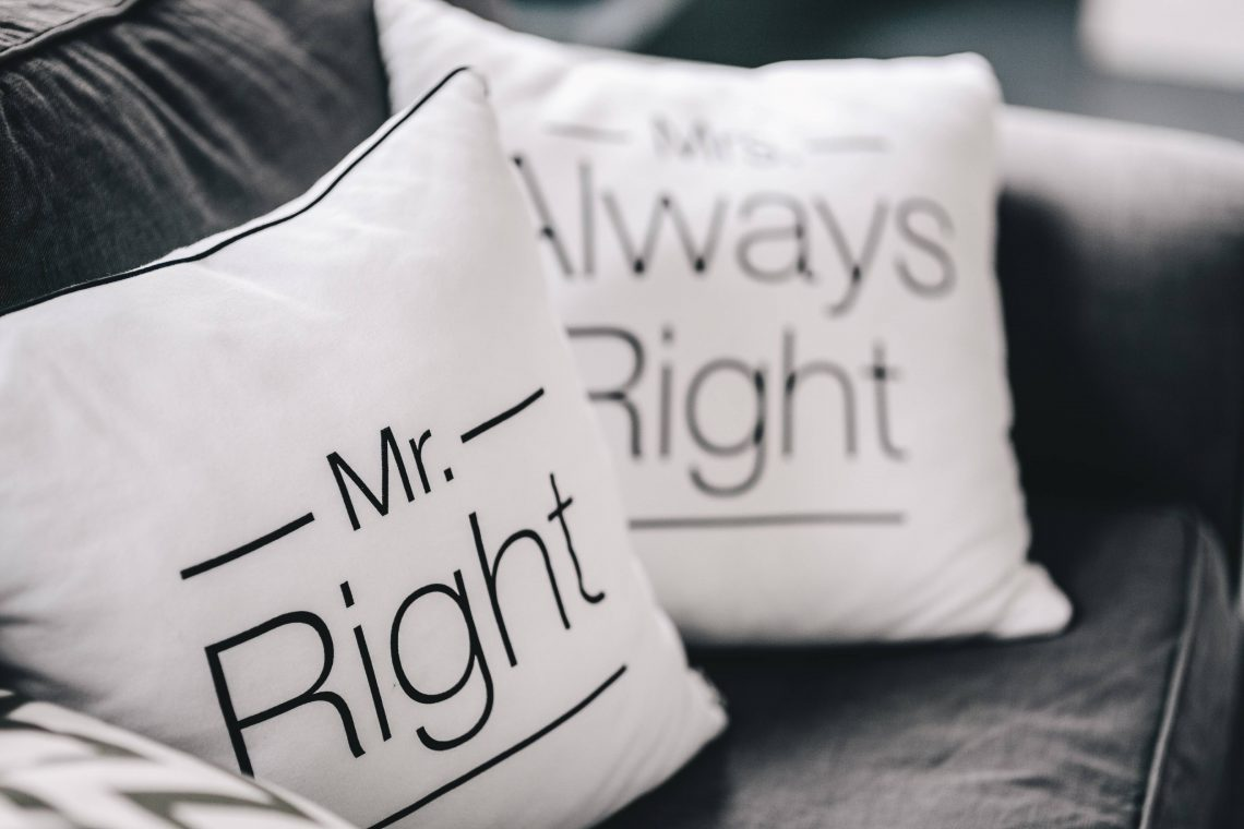 Mr Right Mrs Always Right cushions