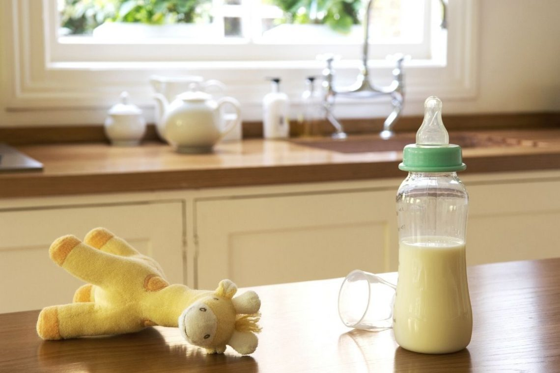baby bottle with milk or formula and stuffed giraffe