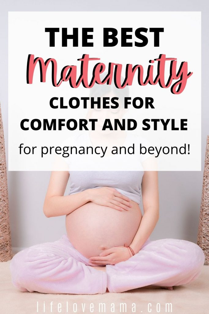 woman in comfortable maternity clothes