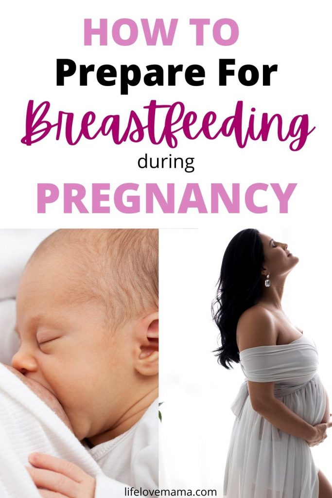 breastfeeding baby and pregnant woman preparing for breastfeeding