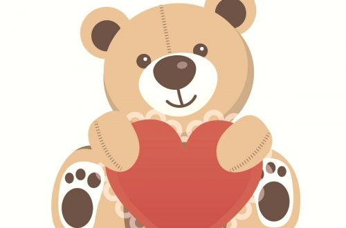 teddy bear holding a heart for valentines day